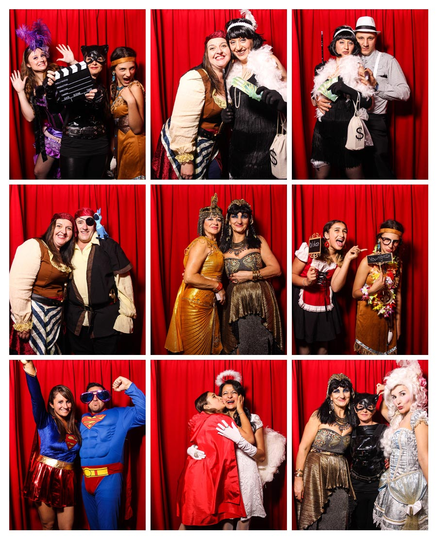 Photobooth at Birthday Party with Red Backdrop