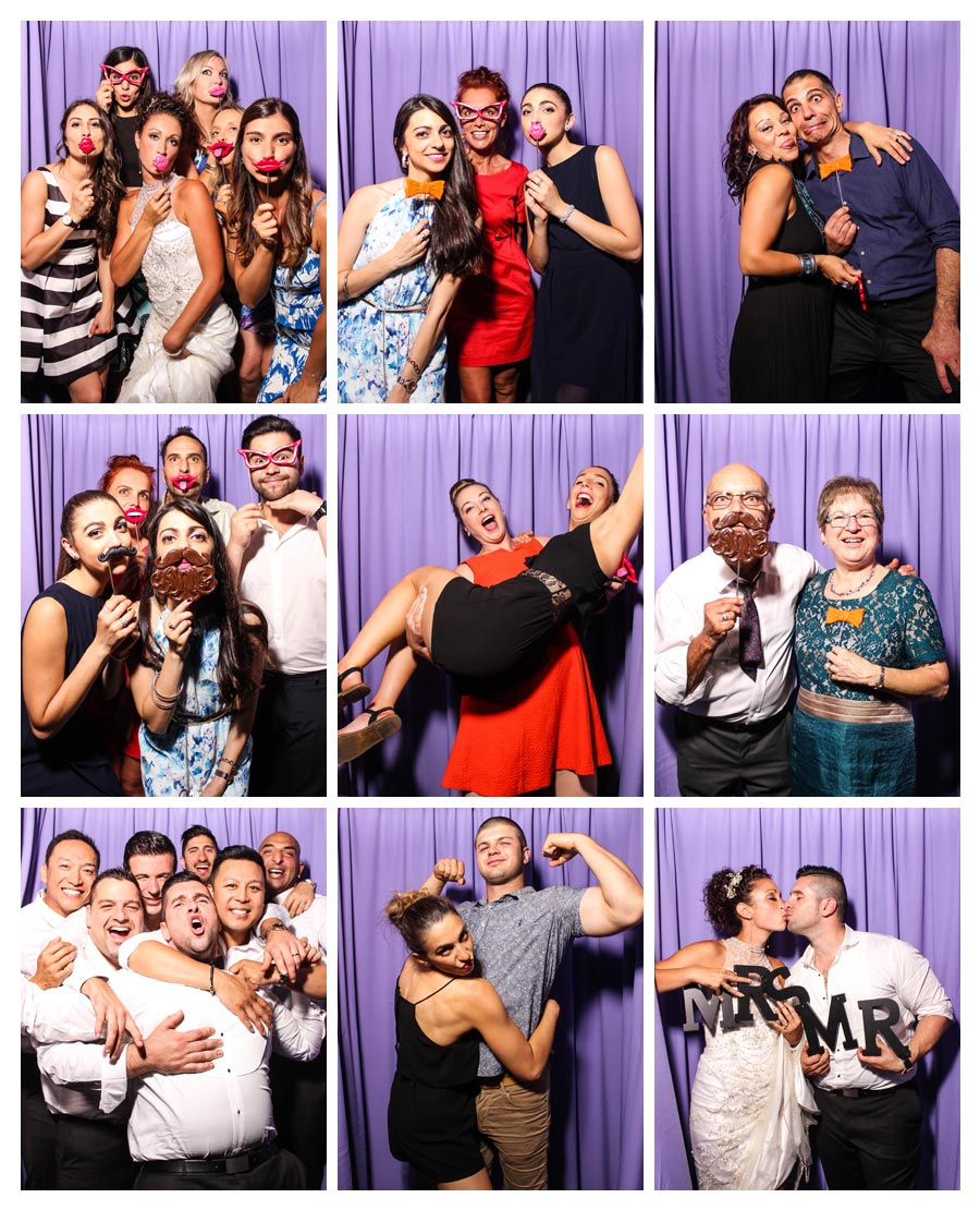 Photobooth at Wedding with Purple Backdrop
