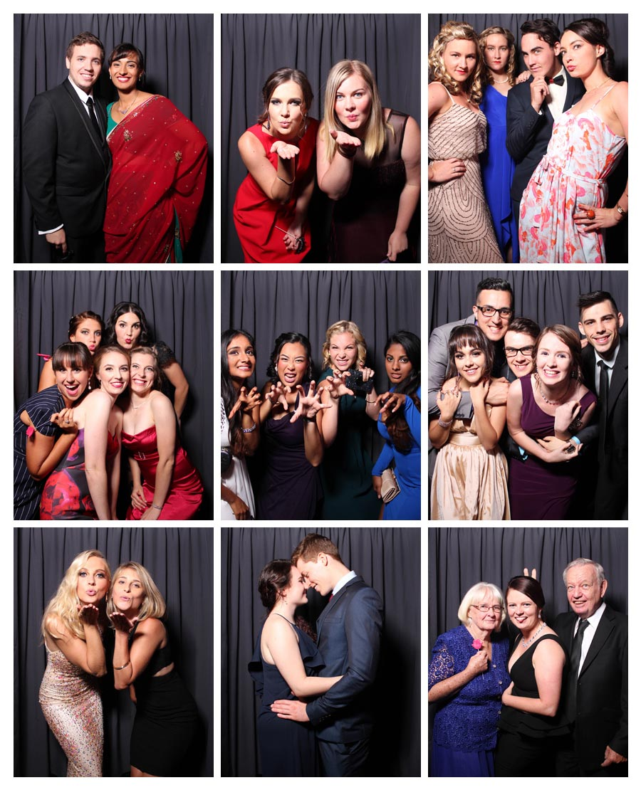 Photo Booth at Graduation Ball with Grey Backdrop