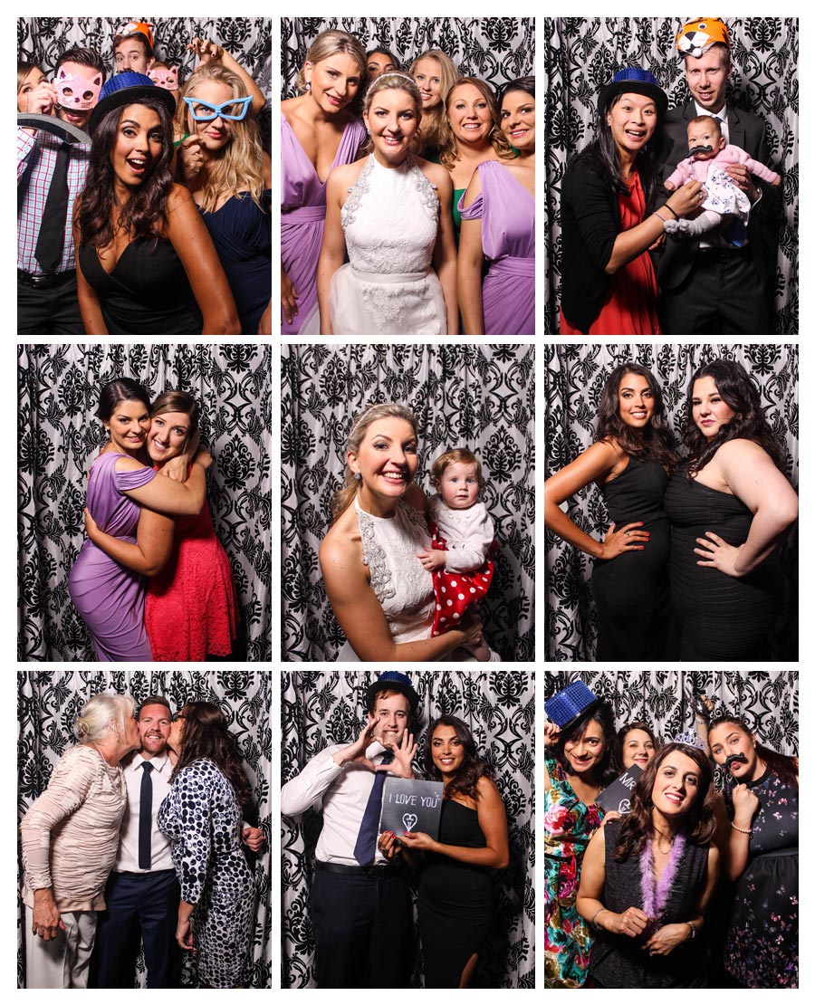 Photo Booth at Molnar Wedding with Damask Backdrop