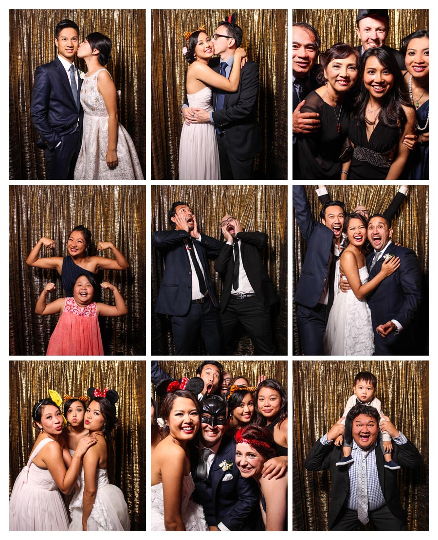 Photo Booth at Wedding with Gold Backdrop
